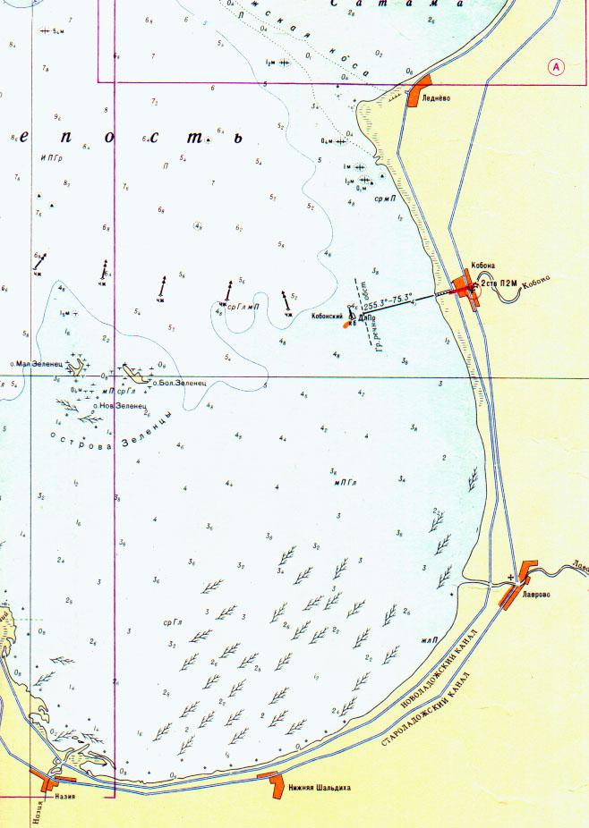 Карта ладожского озера с глубинами и рыболовными точками для печати